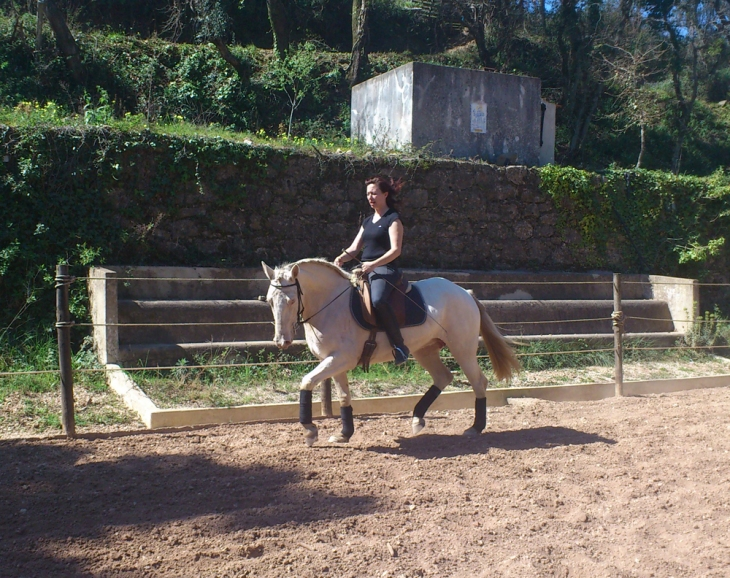 Charlotte Wittbom riding Spanish Mustang mare 'Moon Fox' at Quinta do Brejo